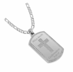 Silver Dog Tag Pendant with Gem Cross Inlay