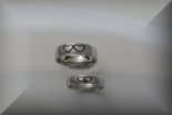 Silver Double Heart Ring Set