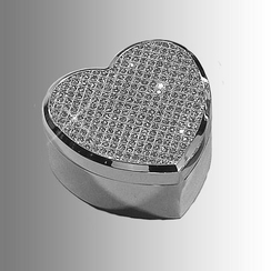 Silver Glitter Galore Rhinestone Heart Jewelry Box