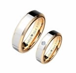 Silver & Gold CZ Tungsten Ring Set