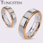 Silver & Gold Two Tone CZ Tungsten Ring Set