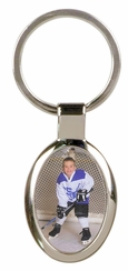 Silver Oval Picture Keychain