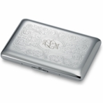 Silver Paisley Business Card Holder