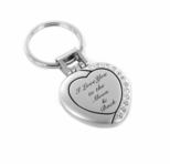 Silver Photo Frame Heart w/ Crystals Locket Keychain