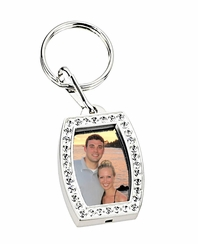 Silver Rhinestone Photo Locket Keychain