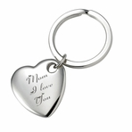 Silver Rounded Heart Keychain