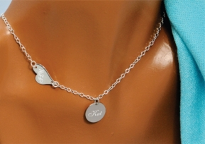 Silver Sideways Heart & Circle Charm Necklace