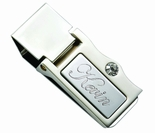 Silver Stone Hinged Money Clip