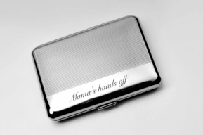 Silver Striped Double Sided Cigarette Case