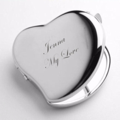 Silver Sweetheart Compact Mirror
