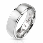 Silver Two Tone Stainless Steel Ring 8mm