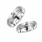 Silver Two Tone Stainless Steel Ring Set