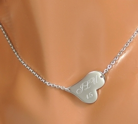 Small Silver Side Heart Necklace