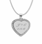 Small Silver Heart Cubic Zirconia Necklace