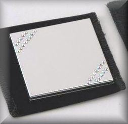 Square Mirror Compact With Diagonal Stones