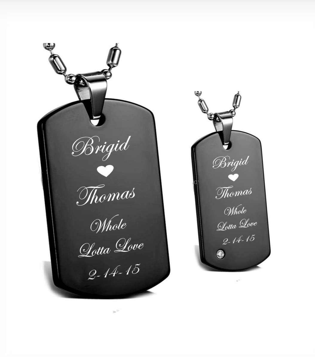 57c99fe546 FREE FRONT SIDE ENGRAVING ! Stainless Steel Black Dog Tag His & Hers  Necklace Set