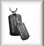 Stainless Steel Black Dog Tag Necklace Set
