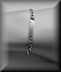 Stainless Steel Bright Silver Curb Bracelet