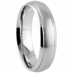 Stainless Steel Brushed Dome Polished Edge Couple's Ring Set 7mm