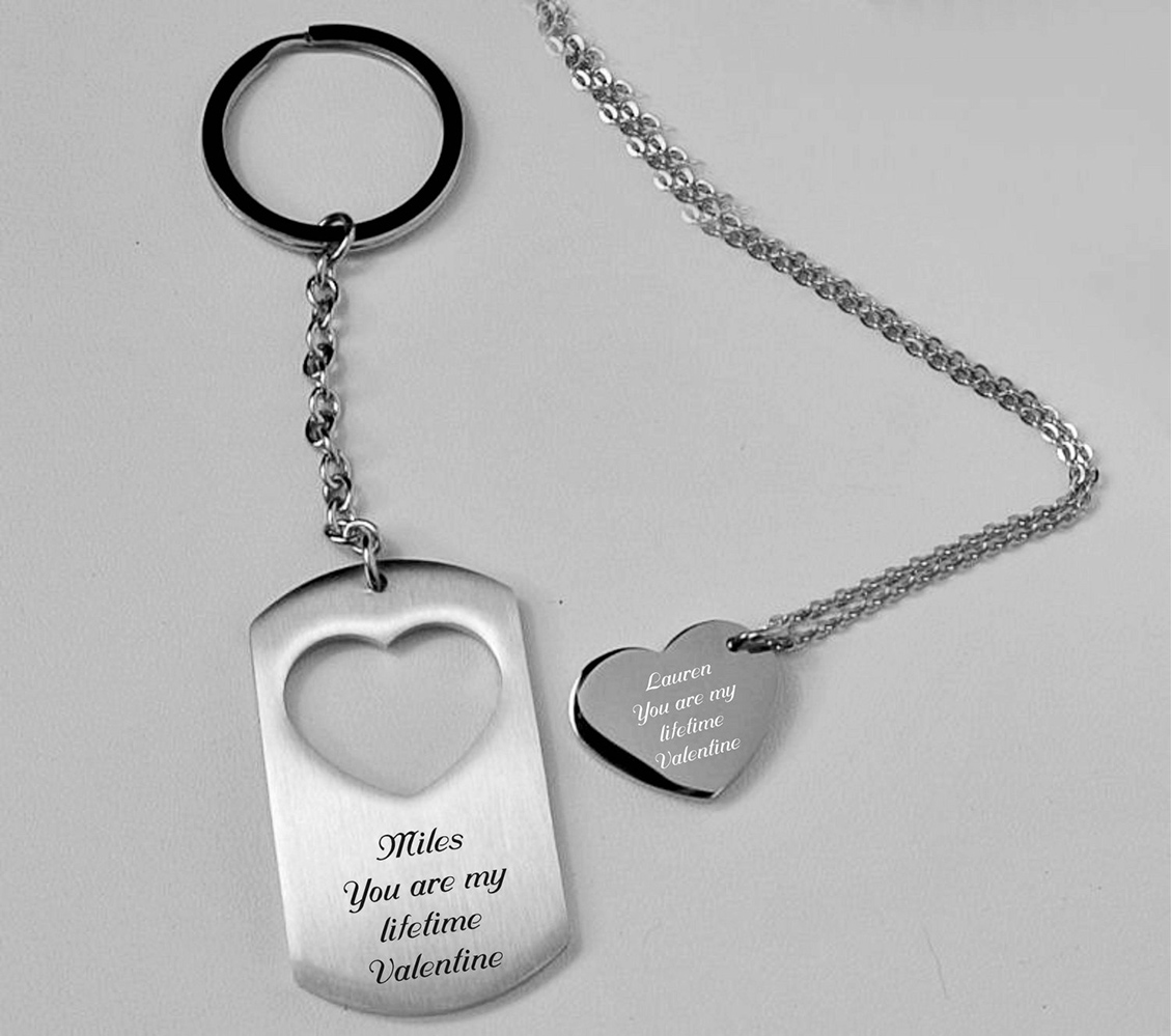 Stainless Steel Brushed and Polished Black Acrylic Key Chain