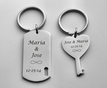 Stainless Steel Dog Tag & Heart Key Keychain Set