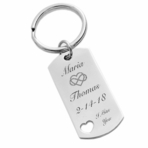 Stainless Steel Dog Tag Heart Keychain