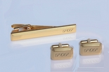 Gold Beveled Cuff Link & Tie Clip Set