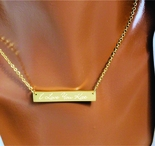 Stainless Steel Gold Monogram Name Bar Necklace