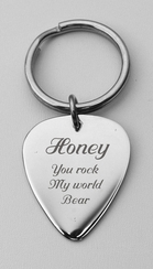Stainless Steel Guitar Pick Keychain