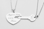 Stainless Steel Heart & Key Necklace Set