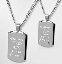 Stainless Steel His & Hers CZ Dog Tag Necklace Set