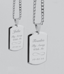 Stainless Steel His & Hers Dog Tag Necklace Set
