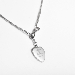 Stainless Steel Infinity Heart Charm Necklace