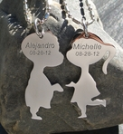 Stainless Steel Kissing Couple Necklace