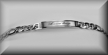 Stainless Steel Ladies Rectangle Figaro ID Bracelet