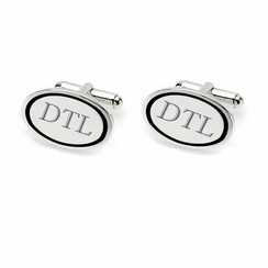 Stainless Steel Oval Cufflinks With Black Accent