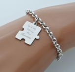 Stainless Steel Puzzle Piece Charm Bracelet
