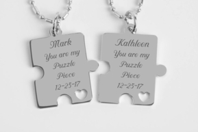 Stainless Steel Puzzle Piece Heart Necklace Set
