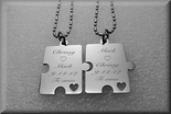 Stainless Steel Puzzle Piece Necklaces Set of 2