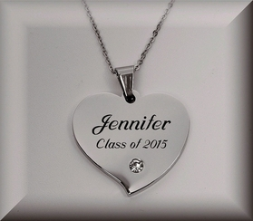 Stainless Steel Rhinestone Heart Necklace