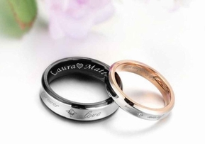 Black & Gold Couple's Ring Set