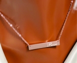 Stainless Steel Rose Gold Monogram Name Bar Necklace