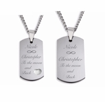 Stainless Steel Sweetheart Dog Tag Necklace Set