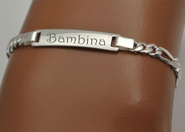 Sterling Silver Figaro Link Baby Id Bracelet Gt Engraved