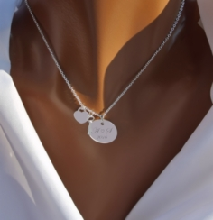 Sterling Silver Heart & Key Charm Necklace