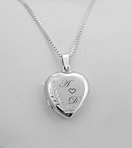 Sterling Silver Heart Locket Charm Necklace