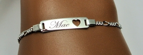 Sterling Silver Baby ID Bracelet With Heart