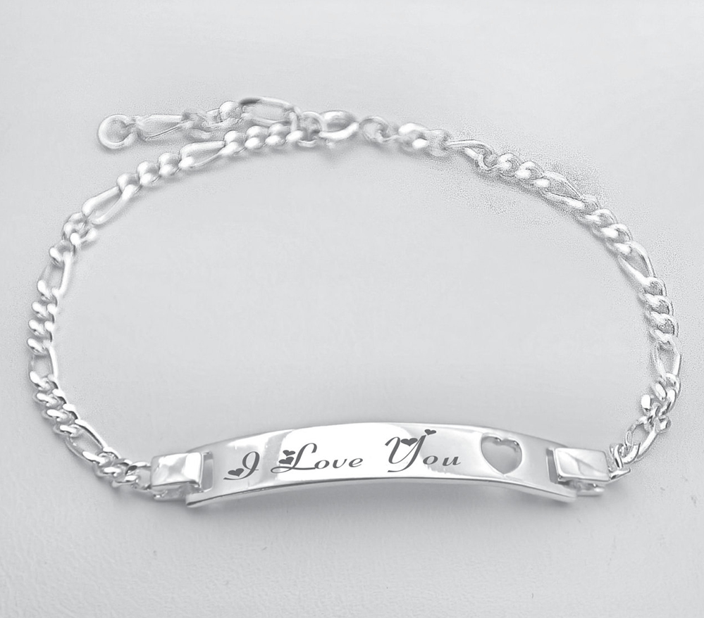 Ladies 925 Sterling Silver Heart Identity Bracelet with Personalised Engraving