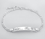 Sterling Silver Ladies Heart Figaro ID Bracelet