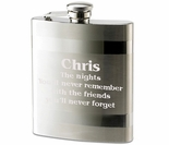 Striped Stainless Steel Flask 8 oz